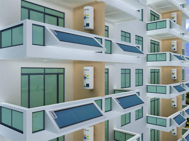 阳台分体式平板太阳能热水系
